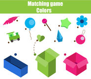 Educational children game. Matching game worksheet for kids. Match by color. Sorting objects for toddlers Royalty Free Stock Images