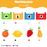Educational children game. Matching game worksheet for kids. Match by shape. Sorting objects for toddlers Stock Photos