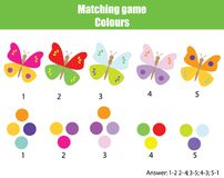 Educational children game. Match by color. Find pairs of butterflies and colors. Educational children game. Matching game worksheet for kids. Match by color Stock Image