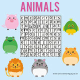 Educational children game. Word search puzzle kids activity. Animals theme. Learning vocabulary Stock Photography