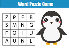 Educational children game. Word search puzzle kids activity. Animals theme. Learning vocabulary Stock Photos
