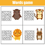 Educational children game. Word search puzzle kids activity. Animals theme. Learning vocabulary Royalty Free Stock Photography
