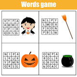 Educational children game. Word search puzzle kids activity. Learning vocabulary. Halloween theme Royalty Free Stock Photo