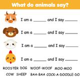 Educational children game. Words puzzle. Learning animals sounds. Activity for toddlers and pre school years kids Royalty Free Stock Photos