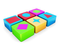 Educational colorful cubes  on white background. 3d rend. Educational colorful cubes  on white background. Different shape. Children's educational toys. 3d Stock Photos
