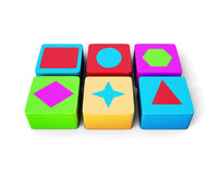 Educational colorful cubes  on white background. 3d rend. Educational colorful cubes  on white background. Different shape. Children's educational toys. 3d Royalty Free Stock Images