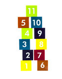 Educational colorful numer blocks with different numbers Stock Image
