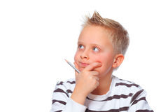 Educational concept boy thoughtful Stock Images