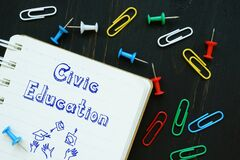 Educational concept about Civic Education with phrase on the piece of paper