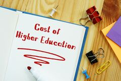 Educational concept about Cost Of Higher Education with sign on the sheet