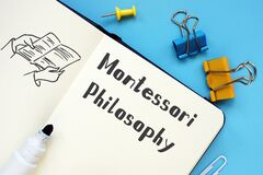 Educational concept about Montessori Philosophy with phrase on the piece of paper
