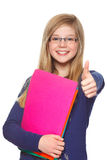 Educational concept schoolgirl giving thumbs up Stock Image