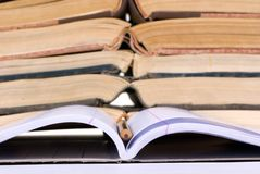 Educational Concepts (open notebook with books) royalty free stock photos