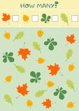 Educational counting game for preschool children with different autumn leaves. vector illustration