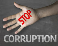 Educational and Creative composition with the message Stop Corruption on the blackboard Stock Photos