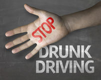 Educational and Creative composition with the message Stop Drunk Driving on the blackboard Stock Photo