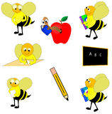 Educational design elements. Round educational design elements including chalk board,apple,pencil,bees and more Stock Photo