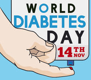 Educational Design to Measure Glucose Level in World Diabetes Day, Vector Illustration Royalty Free Stock Photography