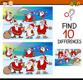 Educational differences task. Cartoon Illustration of Finding Differences Educational Task for Preschool Children with Santa Claus Royalty Free Stock Photo