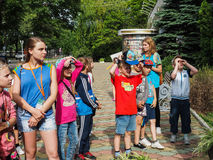 An educational excursion for children from camps in the Russian city of Anapa. Stock Photo
