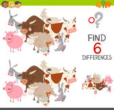 Educational finding differences game. Cartoon Illustration of Finding the Differences Educational Game for Children with Farm Animal Characters Royalty Free Stock Photography