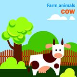 Educational flashcard with cow on the farm. A cow stands on a clear day in a natural area with a tree and a fence. Grazing in the countryside. An agricultural Royalty Free Stock Images