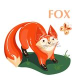 Educational flashcard fox and flying butterfly royalty free illustration