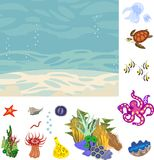 Educational game: assembling Ecosystem of coral reef from ready-made components in form of stickers. Educational game. Assembling Ecosystem of coral reef from vector illustration
