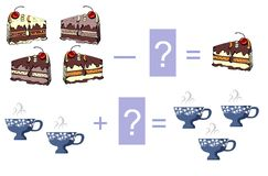 Educational game for children - addition and subtraction. Examples with cakes and cups. Stock Photos