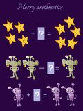 Educational game for children. Cartoon illustration of mathematical addition and subtraction. Examples with cute colorful stars and aliens Stock Photos