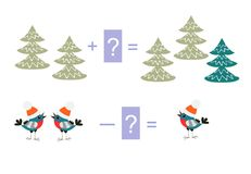 Educational game for children. Examples with cute colorful trees and birds. Royalty Free Stock Photo