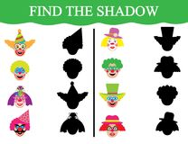 Educational game for children. Development of attention. Find the shadows of clown's faces. Educational game for children. Development of attention. Find Stock Images