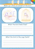 Game empathy bird cage. Educational game for children empathy. The goal of educating understanding, compassion, kindness and love in kids Royalty Free Stock Photo