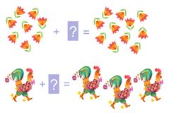 Educational game for children. Examples with cute colorful roosters and flowers. Stock Photos