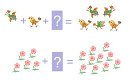 Educational game for children. Examples with flowers and birds. Stock Images