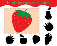 Educational game for children. Find the correct shadow. Of strawberry. Vector illustration Stock Photo