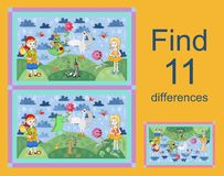 Educational game for children. Find differences. Vector illustration. Easy editable pattern Royalty Free Stock Photography