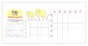 Educational game for children - Help the elephant to grow. Copy the picture using the grid. Vector illustration Royalty Free Stock Image