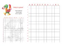 Educational game for children - Help the fairy rooster to grow. Educational game for children - Help the fairy rooster to grow - copy the picture using the grid Stock Photography