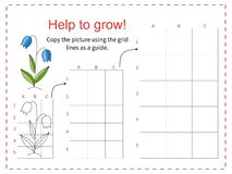 Educational game for children - Help the flower to grow. Copy the picture using the grid. Vector illustration Royalty Free Stock Photo