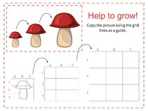 Educational game for children - Help the mushroom to grow. Copy the picture using the grid. Vector illustration Stock Image