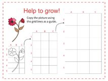 Educational game for children - Help red flower to grow - copy the picture using the grid. Vector illustration.  royalty free illustration