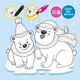 Educational game for children. Paint polar teddy bears, scarves, hats on ice. Winter. Color the picture. Development of. Drawing, color perception skills for stock illustration