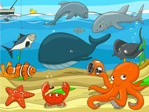 Educational game for children underwater life. Background cartoon colorful vector illustration Royalty Free Stock Photos