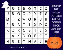 Educational game for children. Word search puzzle kids activity. Halloween theme learning vocabulary.  stock illustration