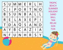 Educational game for children. Word search puzzle kids activity. Summer holidays theme learning vocabulary.  royalty free illustration