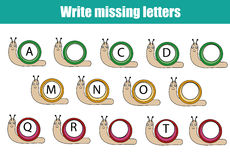 Educational game for children. Write the missing letters. Learning english alphabet. Mathematics educational game for children. Complete the row, write missing Stock Photos