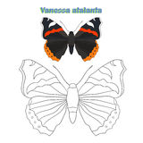 Educational game coloring book  butterfly vector Royalty Free Stock Image
