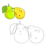 Educational game coloring book pear fruit  vector Stock Images
