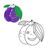 Educational game coloring book plum fruit  vector Royalty Free Stock Images